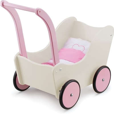 New Classic Toys - Houten poppenwagen creme