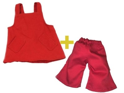 Handpoppenkleding set van 2 - jurk en broek - 35cm - Living Puppets